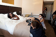 Cannes, France. May 13th 2010..Aissa Maiga being photographed by Véronique Vial for Paris Match at the Gray d'Albion Hotel.