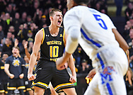 Erik Stevenson #10 of the Wichita State Shockers reacts after a Shcokers scoring run during the first half against the Memphis Tigers on January 9, 2020 at Charles Koch Arena in Wichita, Kansas.