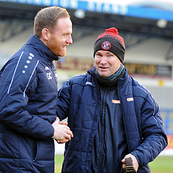 TELFORD COPYRIGHT MIKE SHERIDAN Gavin Cowan greets opposite number Kevin Wilkin during the Vanarama Conference North fixture between AFC Telford United and Brackley Town at the New Bucks Head on Saturday, January 4, 2020.<br /> <br /> Picture credit: Mike Sheridan/Ultrapress<br /> <br /> MS201920-039