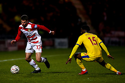 Matty Blair of Doncaster Rovers takes on Jeffrey Schlupp of Crystal Palace - Mandatory by-line: Robbie Stephenson/JMP - 17/02/2019 - FOOTBALL - The Keepmoat Stadium - Doncaster, England - Doncaster Rovers v Crystal Palace - Emirates FA Cup fifth round proper