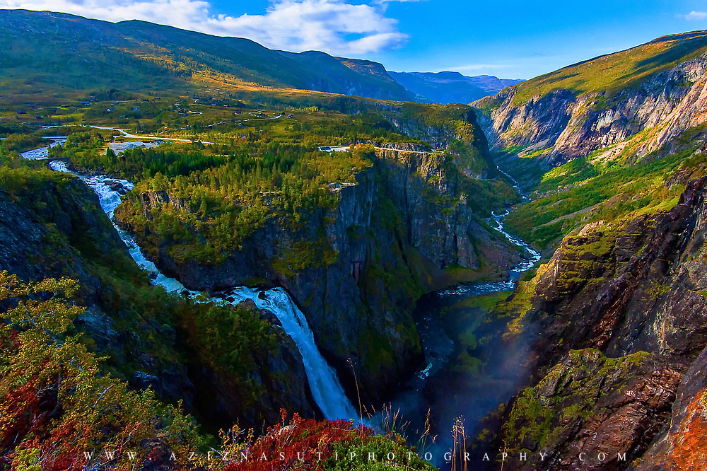 I have been in a geophysical field work to Bømlo in the South-Western Norway in the way to this place we crossed the very beautiful mountains and nature of South-Central Norway. Here you see Vøringfossen  Waterfall. Vøringfossen is the 83rd highest waterfall in Norway on the basis of total fall. It lies at the top of Måbødalen in the municipality of Eidfjord, in Hordaland. I can tell you that you will definitly be amazed by seeing this natural landscape.  on the right side there you can see a little bit of steam which comes from the second waterfall. Please feel free to check my photos here or find me by: |Website |,|Facebook page|, |Instagram |,Google+ |.Twitter |.