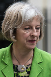 Downing Street, London, September 8th 2015.  Home Secretary Theresa May leaves 10 Downing Street following the first cabinet meeting after the summer holidays, prior to a debate in the House of Commons on the refugee crisis.