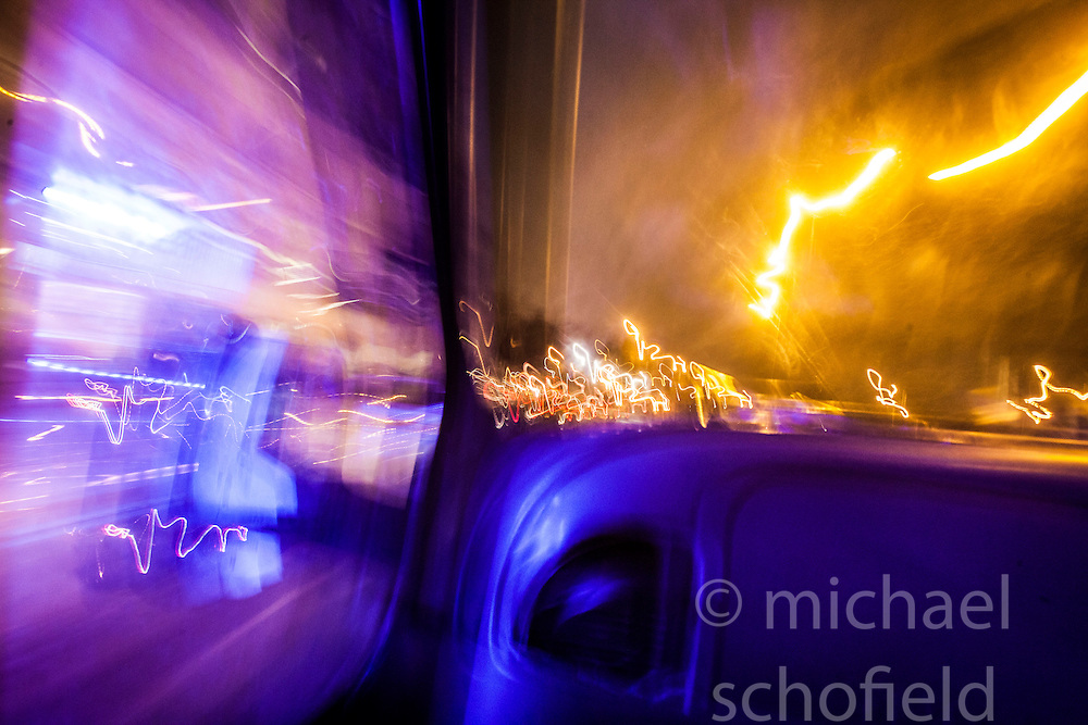 Street light traffic trails, Glasgow..©Michael Schofield.