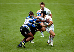 Ben Pointon of Leicester Tigers hands off Levi Davis of Bath Rugby - Mandatory by-line: Robbie Stephenson/JMP - 29/07/2017 - RUGBY - Franklin's Gardens - Northampton, England - Leicester Tigers v Bath Rugby - Singha Premiership Rugby 7s