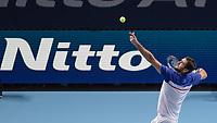 Tennis - 2017 Nitto ATP Finals at The O2 - Day Three<br /> <br /> Group Boris Becker Singles: Marin Cilic (Croatia) Vs Jack Sock (United States) <br /> <br /> Marin Cilic (Croatia) serving at the O2 Arena<br /> <br /> COLORSPORT/DANIEL BEARHAM