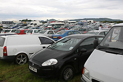 The first day was marred by traffic chaos in the main car parks. Gold car park..T in the Park festival took place on the 6th, 7th and 8 July 2007, at Balado, near Kinross in Perth and Kinross, Scotland. This was the first time the festival had been held over three days..Pic ©2011 Michael Schofield. All Rights Reserved..