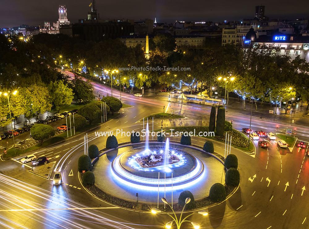 The Neptune Fountain on Plaza de Canovas de Castilo Madrid, Spain