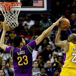 Feb 4, 2016; New Orleans, LA, USA; Los Angeles Lakers forward Kobe Bryant (24) shoots over New Orleans Pelicans forward Anthony Davis (23) during the fourth quarter of a game at the Smoothie King Center. The Lakers defeated the Pelicans 99-96. Mandatory Credit: Derick E. Hingle-USA TODAY Sports
