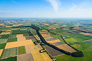 Nederland, Noordoostpolder, Schokland, 27-08-2013. Dorp en voormalig eiland in de Zuiderzee, gezien vanuit het Zuiden. Onderdeel van de UNESCO Werelderfgoedlijst. <br /> Het verlagen van de grondwaterspiegel in de Noordoostpolder leidt tot inklinking waardoor het eiland steeds lager komt te liggen. Om verder wegzinken te voorkomen een hydrologische zone aangelegd<br /> Village and former island, seen from the south. Part of the UNESCO World Heritage List.<br /> The center is the Reformed Church. Lowering the groundwater level in the Noordoostpolder leads to subsidence and causes the island the sink away. In order to prevent further decline a hydrological zone has been created.<br /> luchtfoto (toeslag op standaard tarieven);<br /> aerial photo (additional fee required);<br /> copyright foto/photo Siebe Swart.