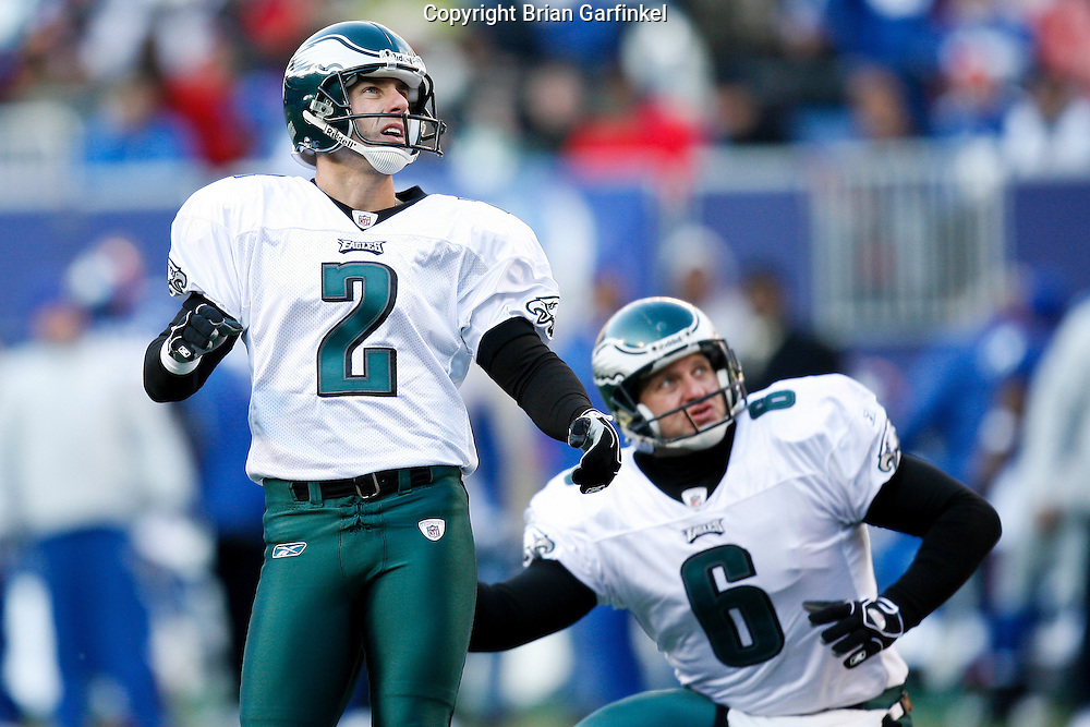 11 Jan 2009: Philadelphia Eagles PK David Akers #2 and punter Sav Rocca #6 during the game against the New York Giants on January 11th, 2009.  The  Eagles won 23-11 at Giants Stadium in East Rutherford, New Jersey.
