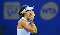 WUHAN, Sept. 30, 2017 Caroline Garcia of France celebrates after winning the singles final match against Ashleigh Barty of Australia at 2017 WTA Wuhan Open in Wuhan, capital of central China's Hubei Province, on Sept. 30, 2017. Caroline Garcia won 2-1. wdz) (Credit Image: © Cheng Min/Xinhua via ZUMA Wire)