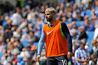 BRIGHTON, ENGLAND - MAY 12:    Sergio Aguero (10) of Manchester City warming up ahead of the Premier League match between Brighton & Hove Albion and Manchester City at American Express Community Stadium on May 12, 2019 in Brighton, United Kingdom. (MB Media)