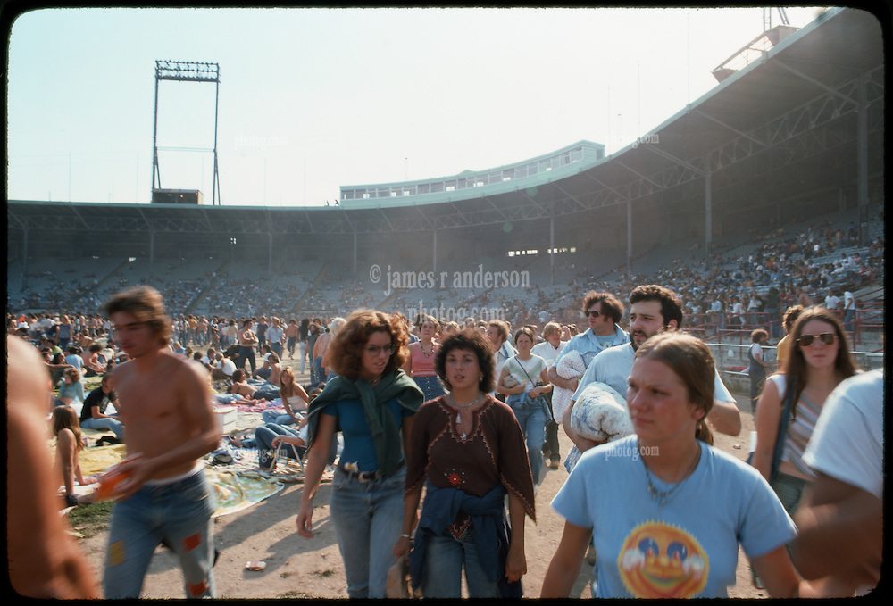 The crowd, fans and deadheads, and the ball park bleachers, before the Grateful Dead Concert begins at Roosevelt Stadium 4 August 1976
