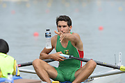 Chungju, South Korea. Sunday Heats, MEX. LM1X. Alan Eber ARMENTA VEGA. Moves away from the start on the opening day of the 2013 FISA World Rowing Championships, Tangeum Lake International Regatta Course. 10:26:35  Sunday  25/08/2013 [Mandatory Credit. Peter Spurrier/Intersport Images]