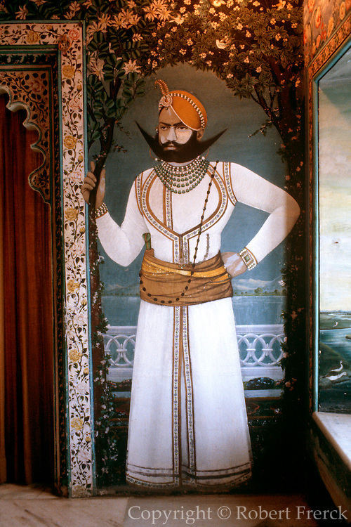 INDIA, RAJASTHAN Udaipur; a mural in the Maharaja's Suite  of the famous Lake Palace Hotel on  Lake Pichola