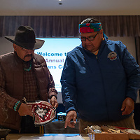 T.J. Anderson, left, Kenneth Begay of the Navajo Nation Division of Behavior Health and Services, at Red Rock Park on Friday.