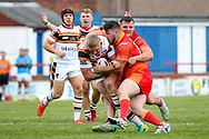 Bradford Bulls replacement Mikolaj Oledzki (31) is stopped  during the Kingstone Press Championship match between Sheffield Eagles and Bradford Bulls at, The Beaumont Legal Stadium, Wakefield, United Kingdom on 3 September 2017. Photo by Simon Davies.