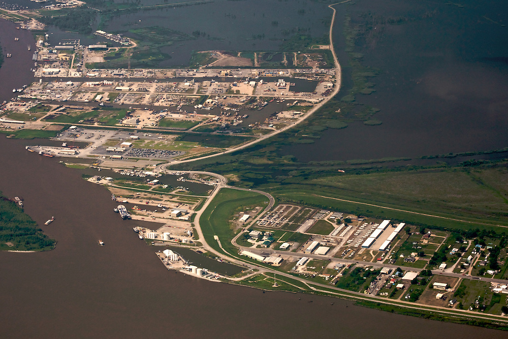 Venice, Louisiana, USA. View West from Mississippi River
