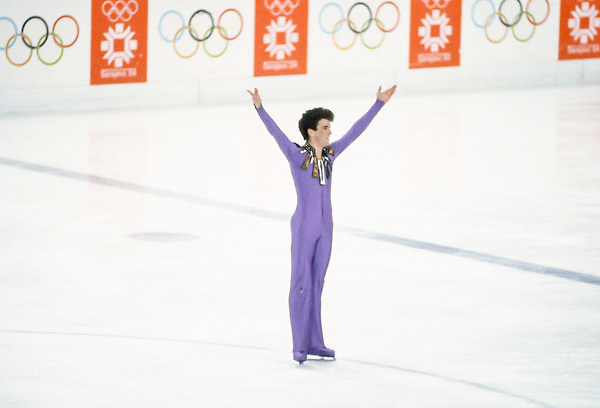 SARAJEVO, YUGOSLAVIA -  FEBRUARY 1984:  Brian Orser (CAN) skates his Long Program of the Men's Singles competition in the 1984 Winter Olympics held at the Zetra Ice Hall in Sarajevo, Yugoslavia in February, 1984.  Orser was the Silver Medalist in the event.   (Photo by David Madison/Getty Images) *** Local Caption *** Brian Orser