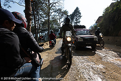 Biltwell photographer Geoff Kowalchuk riding in Motorcycle Sherpa's Ride to the Heavens motorcycle adventure in the Himalayas of Nepal. Riding from Daman back to Kathmandu. Wednesday, November 13, 2019. Photography ©2019 Michael Lichter.