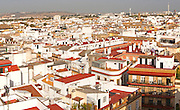 Cityscape view over rooftops in barrio Macarena, Seville, Spain
