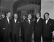 22/10/1957<br /> 10/22/1957<br /> 22 October 1957<br /> Dublin Chamber of Commerce Dinner at the Gresham Hotel, Dublin.<br /> Lt. Col. J.E. Armstrong, Vice President of Dublin Chamber of Commerce on left. Centre is J. Harold Douglas, President of the Dublin Chamber of Commerce, on right is Mr Sean Lemass T.D., Tanaiste and Minister for Industry and Commerce.