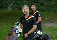 HILVERSUM - German Nick Bachem (r) and Marc Hammer during the foursomes. .   ELTK Golf 2020 The Dutch Golf Federation (NGF), The European Golf Federation (EGA) and the Hilversumsche Golf Club will organize Team European Championships for men.  COPYRIGHT KOEN SUYK