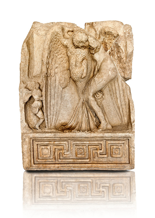 Photo of Roman releif sculpture of Zeus & Leda, Aphrodisias, Turkey, Images of Roman art bas releifs. Buy as stock or photo art prints. Zeus disguised as a swan assaults the Spartan princess Leda. The bird stands on the tips of its outspread wings and presses its webbed feet onto the thigh of the stuggling Leda. The swan is supported by a small Eros. From this encounter came a large egg from which was born Helen and the Dioskouroi twins, Kastor and Polydeukes. Cut Out .<br /> <br /> If you prefer to buy from our ALAMY STOCK LIBRARY page at https://www.alamy.com/portfolio/paul-williams-funkystock/greco-roman-sculptures.html . Type -    Aphrodisias     - into LOWER SEARCH WITHIN GALLERY box - Refine search by adding a subject, place, background colour, museum etc.<br /> <br /> Visit our ROMAN WORLD PHOTO COLLECTIONS for more photos to download or buy as wall art prints https://funkystock.photoshelter.com/gallery-collection/The-Romans-Art-Artefacts-Antiquities-Historic-Sites-Pictures-Images/C0000r2uLJJo9_s0