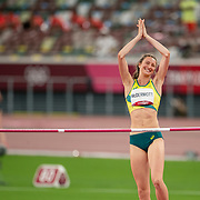 TOKYO, JAPAN August 7:   Nicola McDermott of Australia  reacts as she goes clear during her silver medal performance in the high jump for women during the Track and Field competition at the Olympic Stadium  at the Tokyo 2020 Summer Olympic Games on August 7th, 2021 in Tokyo, Japan. (Photo by Tim Clayton/Corbis via Getty Images)