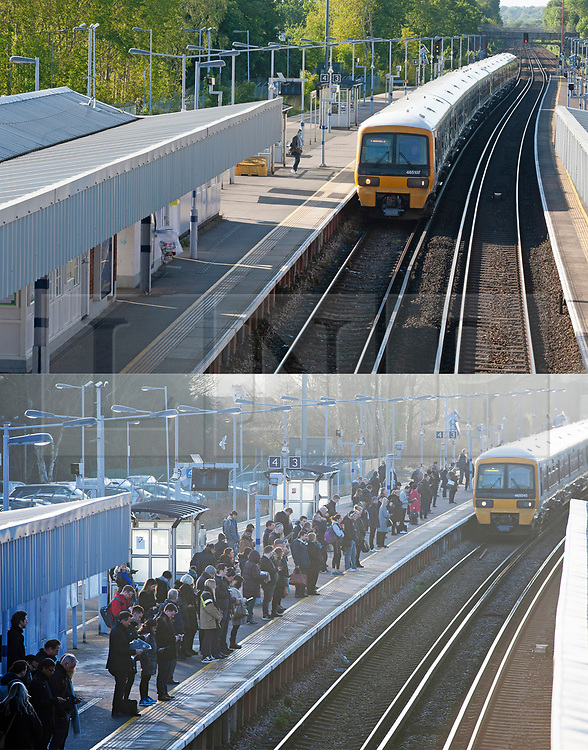©Licensed to London News Pictures 14/05/2020<br /> Petts Wood, UK. Comparison image today (14.05.2020) and (6.02.2020). Only a handful of London commuters at Petts Wood train station in Petts Wood, South East London this morning due to the on going threat of Coronavirus. Photo credit: Grant Falvey/LNP