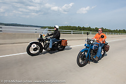 Crossing the Mississippi into Cape Girardeau. John Stanley riding his 1933 Harley-Davidson VLE riding with Fred Lange (in orange) riding his 1929 Harley-Davidson JDH during Stage 5 of the Motorcycle Cannonball Cross-Country Endurance Run, which on this day ran from Clarksville, TN to Cape Girardeau, MO., USA. Tuesday, September 9, 2014.  Photography ©2014 Michael Lichter.
