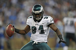 DETROIT - SEPTEMBER 19: Cornerback Ellis Hobbs #31 of the Philadelphia Eagles celebrates an interception during the game against the Detroit Lions on September 19, 2010 at Ford Field in Detroit, Michigan. (Photo by Drew Hallowell/Getty Images)  *** Local Caption *** Ellis Hobbs