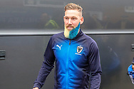 AFC Wimbledon midfielder Scott Wagstaff (7) arriving during the The FA Cup 5th round match between AFC Wimbledon and Millwall at the Cherry Red Records Stadium, Kingston, England on 16 February 2019.