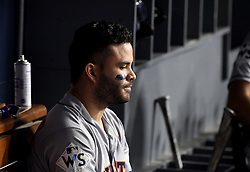 October 31, 2017 - Los Angeles, California, U.S. - Houston Astros' Jose Altuve sits on the bench in the 7th inning of game six of a World Series baseball game at Dodger Stadium on Tuesday, Oct. 31, 2017 in Los Angeles. (Photo by Keith Birmingham, Pasadena Star-News/SCNG) (Credit Image: © San Gabriel Valley Tribune via ZUMA Wire)