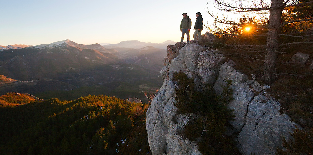 Parmenter and Liana Welty enjoy the views from the cliffs of La Pâle in the Diois, Drôme valley, France.