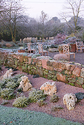 Wall and patio area in winter