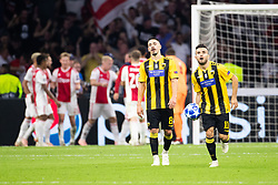 Andre Simoes of AEK Athens FC, Yannis Gianniotas of AEK Athens FC during the UEFA Champions League group E match between Ajax Amsterdam and AEK FC at the Johan Cruijff Arena on September 19, 2018 in Amsterdam, The Netherlands