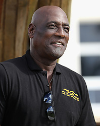 Sir Vivian Richards attends a youth sports festival at the Sir Vivian Richards Stadium in North Sound, Antigua, on the second day of his tour of the Caribbean.