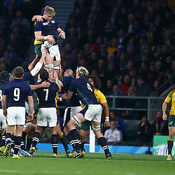 LONDON, ENGLAND - OCTOBER 18: David Denton of Scotland during the Rugby World Cup Quarter Final match between Australia v Scotland at Twickenham Stadium on October 18, 2015 in London, England. (Photo by Steve Haag)
