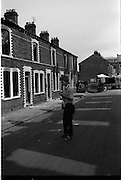 View of Belfast Barricades, Falls Rd Clonard bombay st, nationalists, homes burned, by British loyalists,  <br /> 30/08/1969