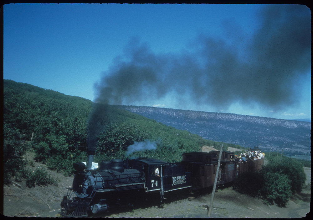 RGS #74 with southbound RMRRC excursion train approaching road crossing on Dallas Divide.<br /> RGS  Valley View, CO  Taken by Kindig, Richard H. - 9/1/1951<br /> Thanks to Don Bergman for additional information.