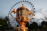 a General view of the Webb Ellis Trophy  in front of the London Eye. RWC 2015, Coca Cola London Eye launch for the Rugby World cup event  in London on Tuesday 15th Sept  2015.<br /> pic by John Patrick Fletcher, Andrew Orchard sports photography.