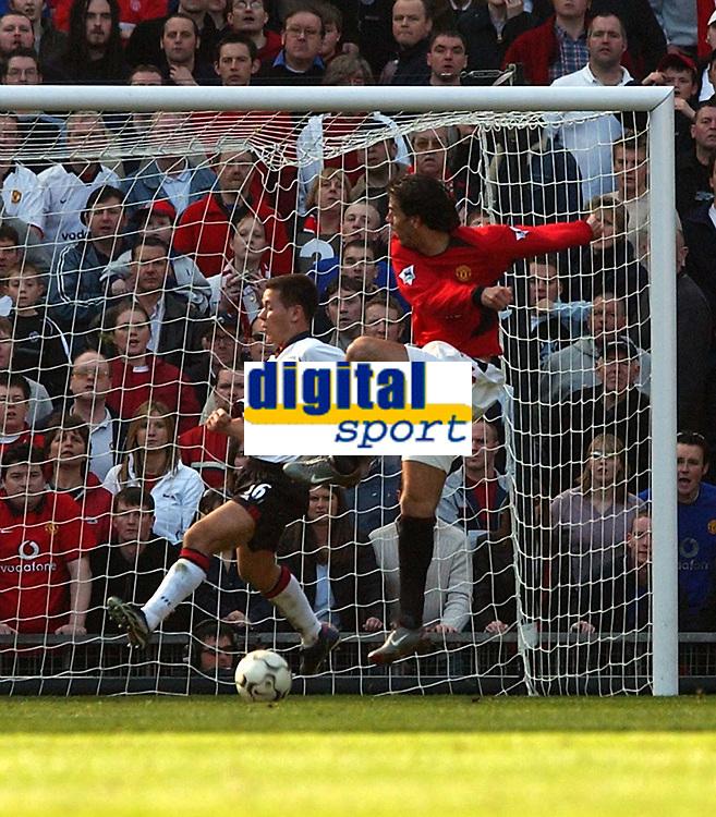 Photo. Javier Garcia<br />22/03/2003 Man United v Fulham, FA Barclaycard Premiership, Old Trafford<br />Ruud Van Nistlerooy completes his hattrick with a shot deflecting off Jon Harley