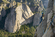 Kevin Jorgeson explores new free climbing terrain on  El Capitan in Yosemite National Park, California