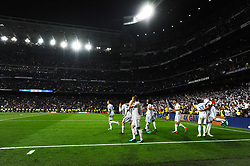May 2, 2018 - Madrid, Spain - MADRID, SPAIN. May 1, 2018 - Real Madrid players celebration after Benzema scored. With a 2-2 draw against Bayern Munchen, Real Madrid made it to the UEFA Champions League Final for third time in a row. Kimmich and James scored for the german squad while Karim Benzema did it twice for los blancos. Goalkeeper Keylor Navas had a great night with several decisive interventions. (Credit Image: © VW Pics via ZUMA Wire)