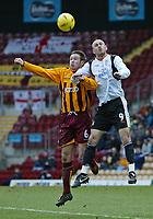 Photo. Andrew Unwin.<br /> Bradford City v Luton Town, Coca-Cola League 1, Bradford and Bingley Stadium, Bradford 19/02/2005.<br /> Bradford City's Mark Bower (L) competes for the ball with Luton's Rowan Vine (R).
