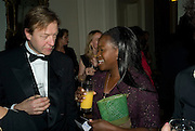 Richard Greer and Eva Sonaike, Dinner at the Italian Embassy in which the winner of the MaxMara Art Prize ( in collaboration with the Whitechapel art gallery )for Women is announced. Grosvenor Sq. London. 29 January 2008.  -DO NOT ARCHIVE-© Copyright Photograph by Dafydd Jones. 248 Clapham Rd. London SW9 0PZ. Tel 0207 820 0771. www.dafjones.com.