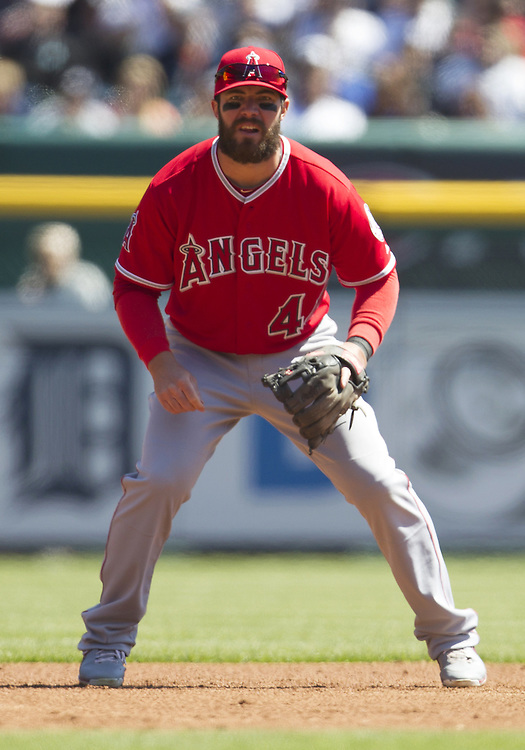 April 19, 2014:  Los Angeles Angels infielder Ian Stewart (44) during MLB game action between the Los Angeles Angels and the Detroit Tigers at Comerica Park in Detroit, Michigan.  The Tigers defeated the Angels 5-2.