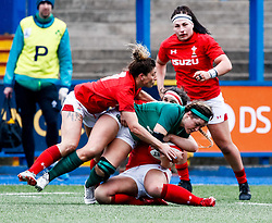 Anna Caplice of Ireland  is tackled by Siwan Lillicrap of Wales<br /> <br /> Photographer Simon King/Replay Images<br /> <br /> Six Nations Round 5 - Wales Women v Ireland Women- Sunday 17th March 2019 - Cardiff Arms Park - Cardiff<br /> <br /> World Copyright © Replay Images . All rights reserved. info@replayimages.co.uk - http://replayimages.co.uk