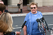 Betty Nicholson, mother of accused double agent Harold James a CIA employee arrested for spying for Russia outside the federal court November 26, 1996 where her son is being arraigned on espionage charges . Nicholson was said to be the highest ranking CIA official ever convicted of spying for a foreign power.